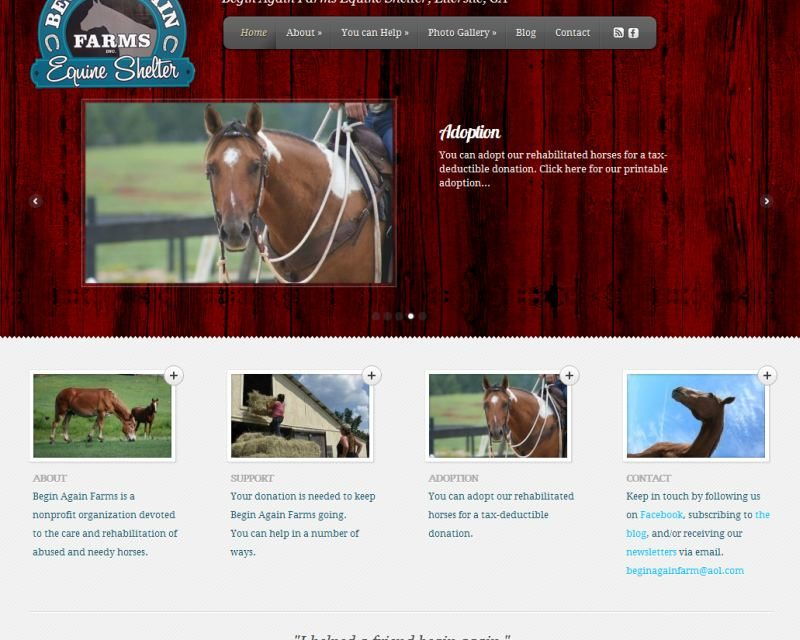 Begin Again Farms Equine Shelter